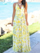 V-Neck Sleeveless Backless Spaghetti Strap Women's Maxi Dress