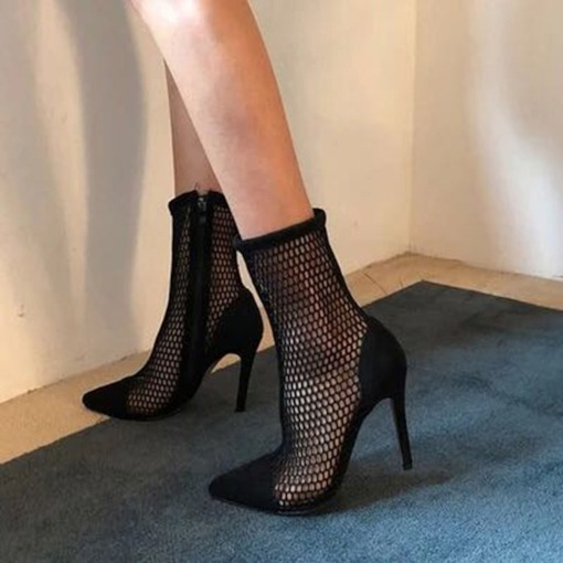 Pointed Toe Stiletto Heel Plain Side Zipper Hollow Ankle Boots