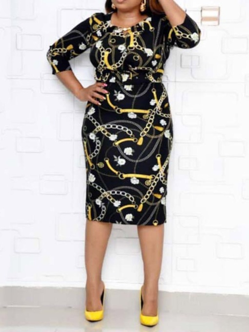 Three-Quarter Sleeve Round Neck Print Pullover Women's Sheath Dress