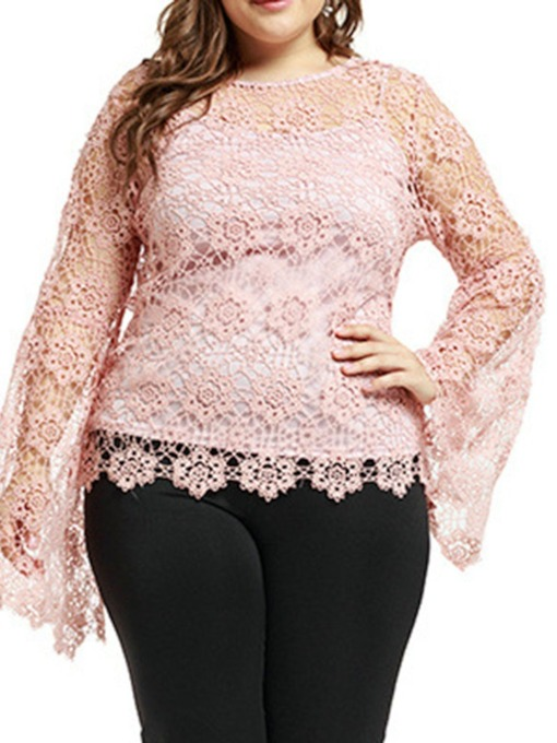 Round Neck Plus Size Plain Hollow Long Sleeve Women's Blouse