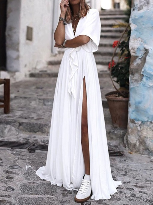 V-Neck Floor-Length Split Short Sleeve Summer Women's Maxi Dress