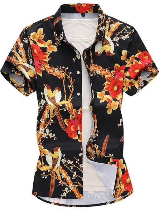 Hawaiian Floral Print Fashion Short Sleeve Lapel Summer Holiday Beach Sea Men's Shirt