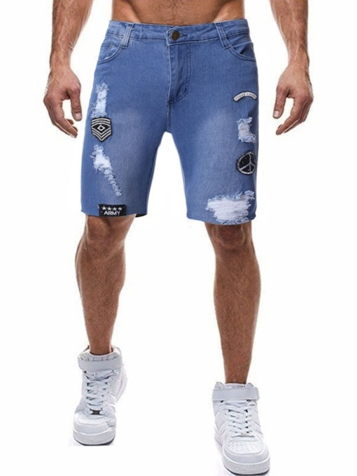 Fashion Pole Jeans Letter Printed Pockets Straight Color Block Button Sports Men's Shorts