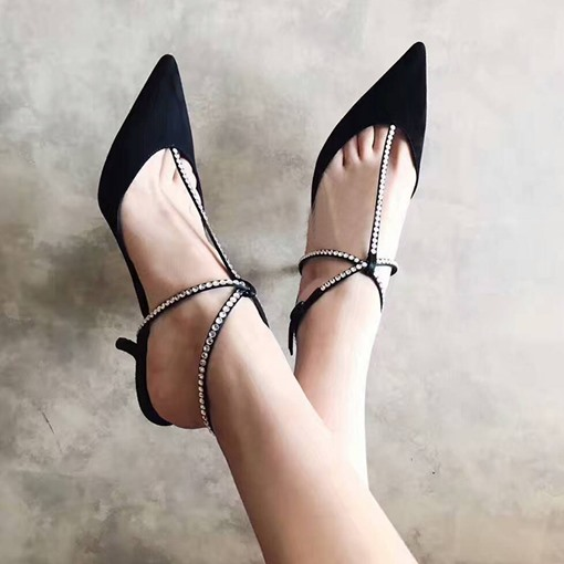 Rhinestone Buckle Stiletto Heel Pointed Toe Mid-Heel Sandals