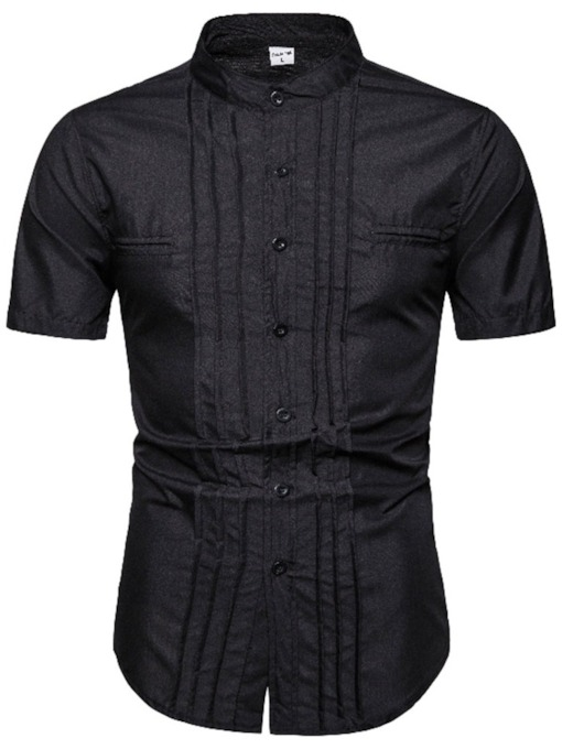 Casual Plain Stand Collar Pleated Fall Men's Shirt