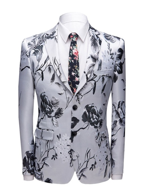 Fashion Single-Breasted Button Black And White Print Pocket Slim Notched Lapel Men's leisure Suit