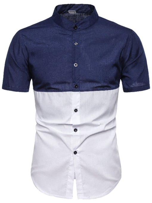 Blue/Purple Color Block Stand Collar Fashion Single-Breasted Button Short Sleeves Men's Shirt