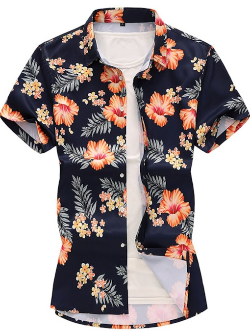 Summer Beach Hawaiian Foral Shirt Folk Style Short Sleeve Single Breasted Men's Shirt