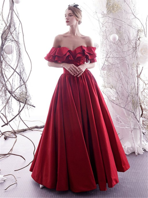 Off-The-Shoulder Ruffles A-Line Floor-Length Evening Dress 2019