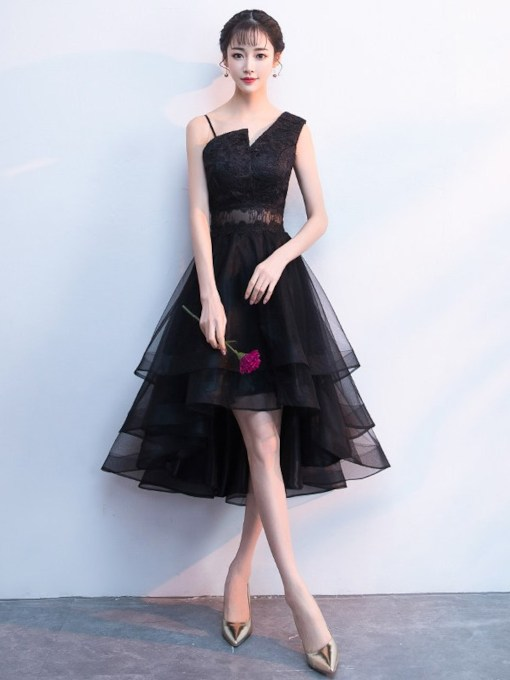 Lace Asymmetry A-Line Sleeveless Homecoming Dress 2019