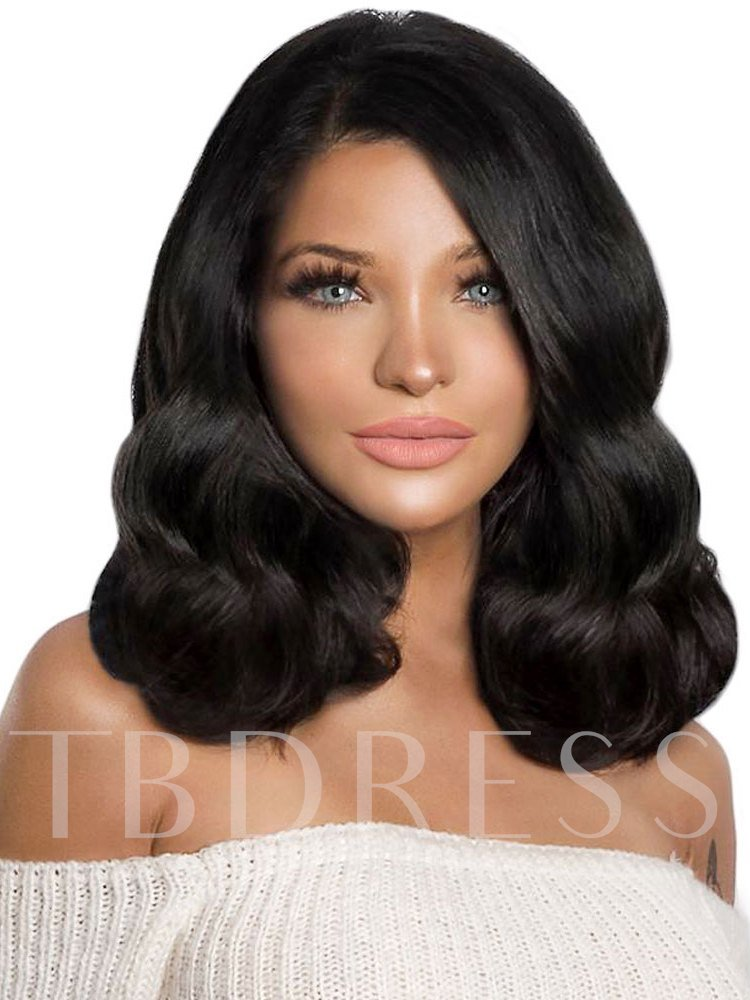 Medium Bob Hairstyles Women's Wavy 150% Density Synthetic Hair Lace Front Wigs 24 inches