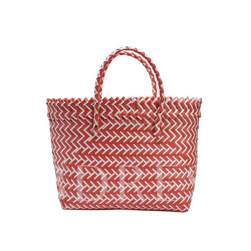 Color Block Grass Knitted Tote Bag