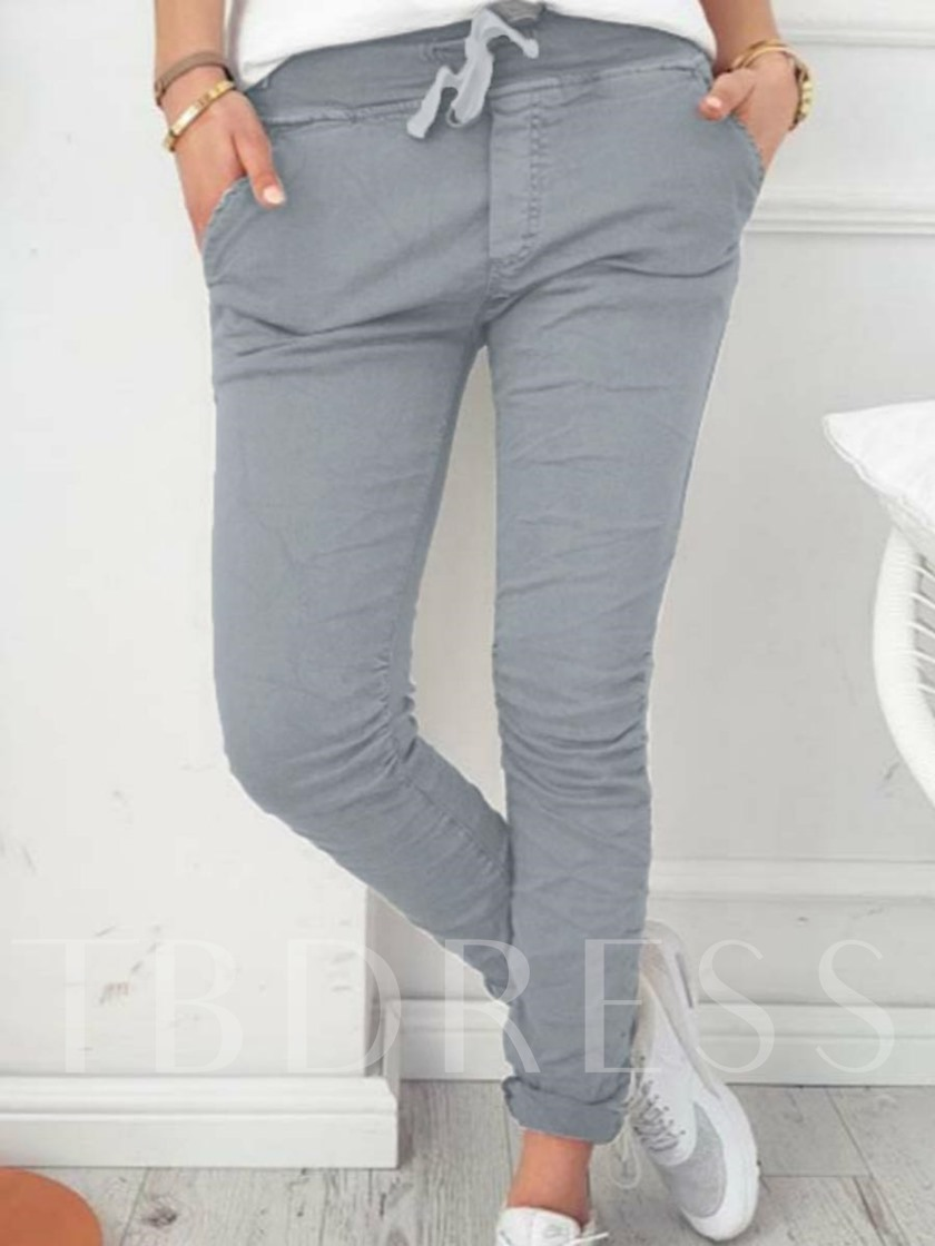 Skinny Lace-Up Stretchy Women's Casual Pants