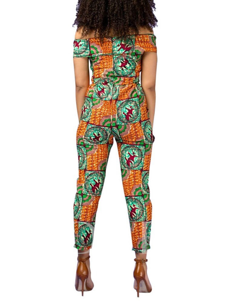 Print Western Color Block Ankle Length Pencil Pants Women's Jumpsuit