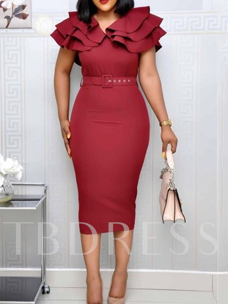 Falbala Short Sleeve Ruffle Sleeve Women's Sheath Dress