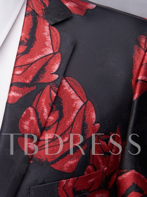 Party Rose Printed Blazers Fashion Single-Breasted Slim Fit Wedding Men's Leisure Suit