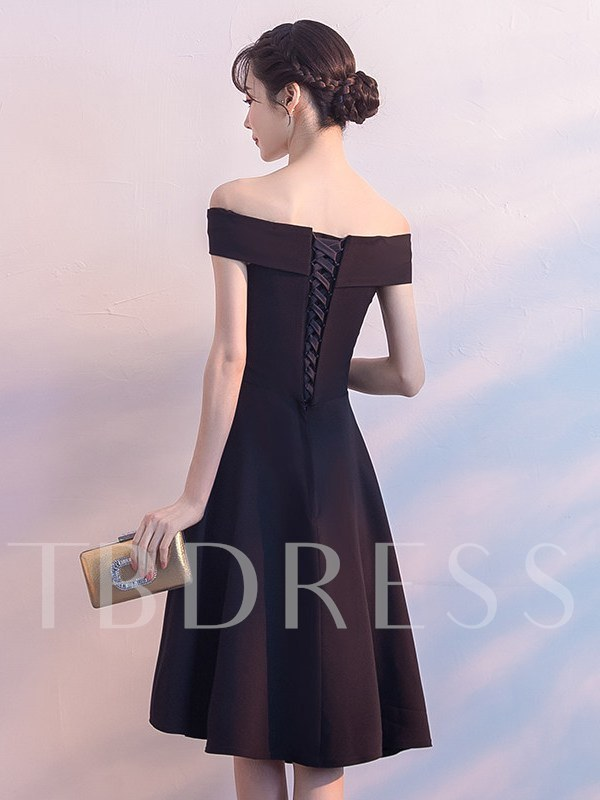 Off-The-Shoulder A-Line Asymmetry Short Sleeves Homecoming Dress 2019