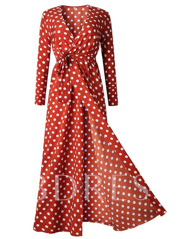 Long Sleeve V-Neck Print Polka Dots Women's Maxi Dress