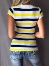 Short Sleeve Standard Stripe Casual Women's T-Shirt