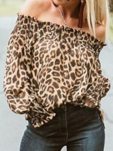 Pleated Leopard Regular Off Shoulder Standard Women's Blouse
