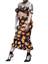Western Skirt Color Block Print Pullover Women's Two Piece Sets