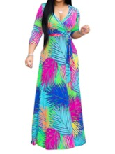 Print V-Neck Three-Quarter Sleeve Spring Women's Maxi Dress