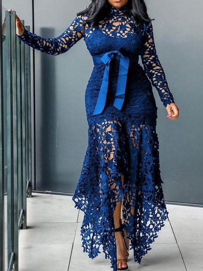 Long Sleeve Lace-Up Asymmetrical Womens Maxi Dress Long Sleeve Lace-Up Asymmetrical Women's Maxi Dress