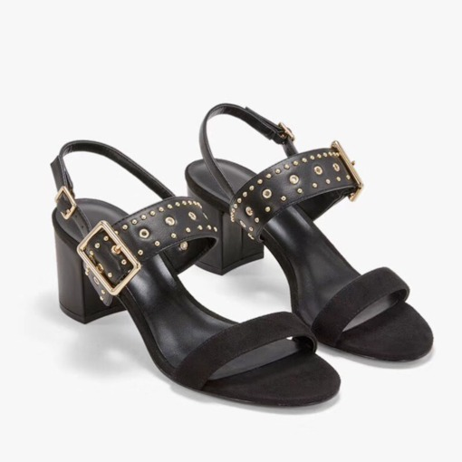 Buckle Open Toe Ankle Strap Chunky Heel Rivet Sandals