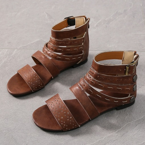 Block Heel Open Toe Heel Covering Zipper Roman Sandals