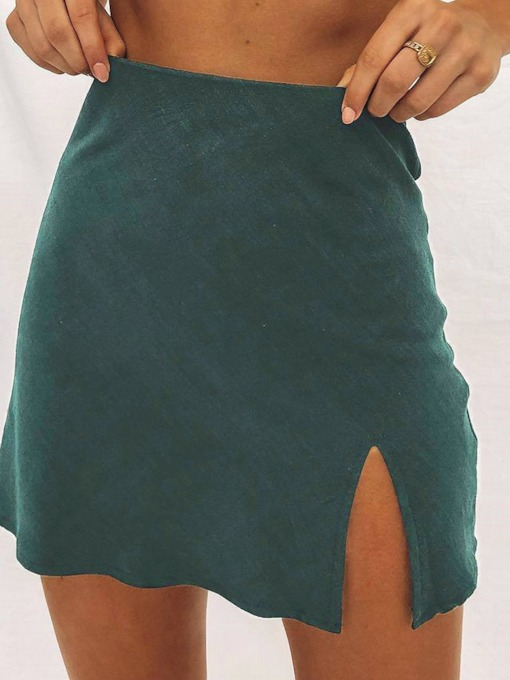 Mini Skirt A-Line Plain Office Lady Women's Skirt