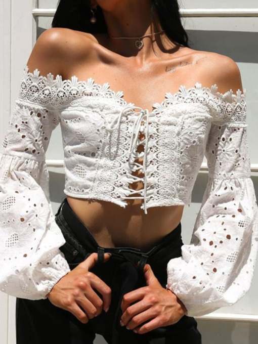 Plain Lantern Sleeve Off Shoulder Hollow Short Women's Blouse