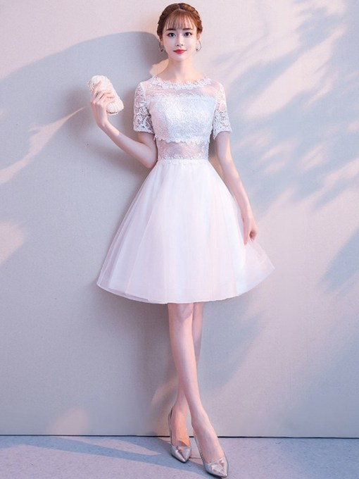 Lace Short Sleeves Scoop A-Line Homecoming Dress