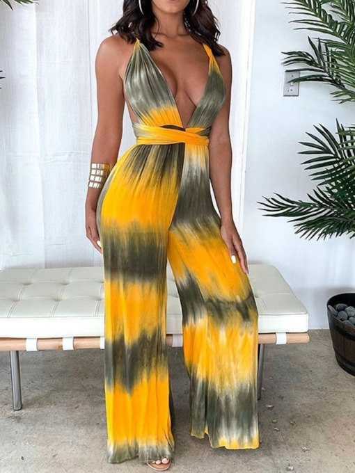 Full Length Lace-Up Color Block Office Lady High Waist Women's Jumpsuit