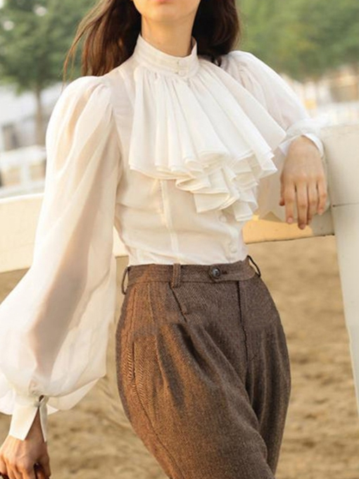 Stand Collar Plain Lantern Sleeve Falbala Long Sleeve Women's Blouse