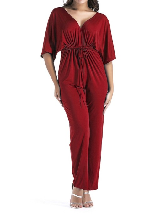 Plus Size Full Length Lace-Up Office Lady Plain Slim Women's Jumpsuit