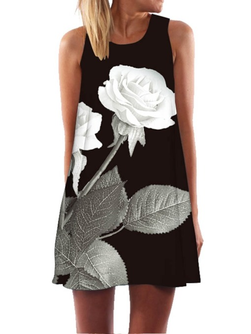 Print Round Neck Sleeveless A-Line Women's Day Dress