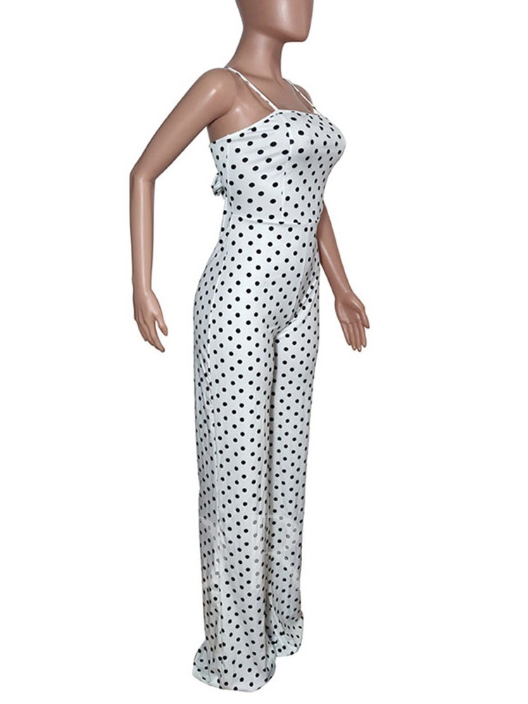 Bowknot Western Polka Dots Full Length Slim Women's Jumpsuit