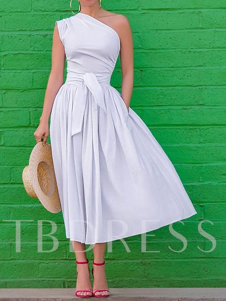 Lace-Up Sleeveless Oblique Collar One-Shoulder Women's Maxi Dress