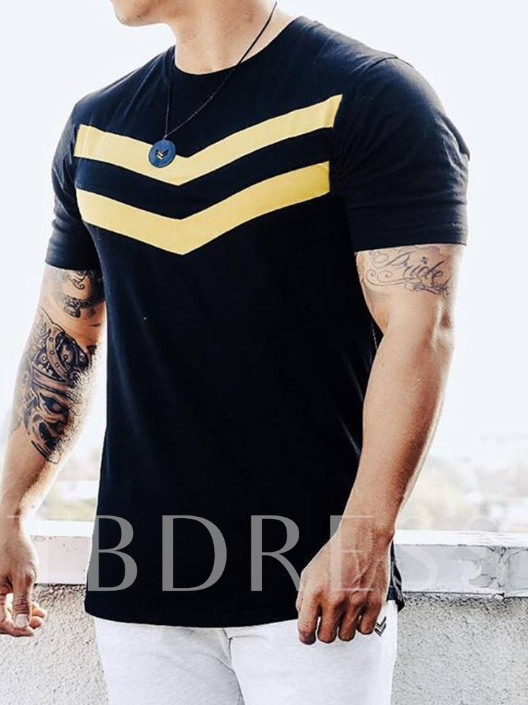 Round Neck Color Block Print Casual Short Sleeve Men's T-shirt