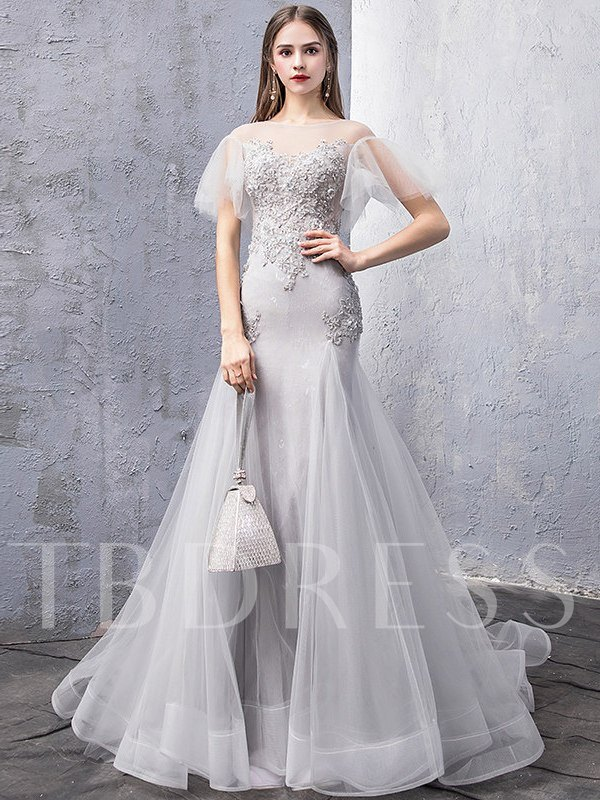 Scoop Short Sleeves Sweep Train Floor-Length Evening Dress 2019