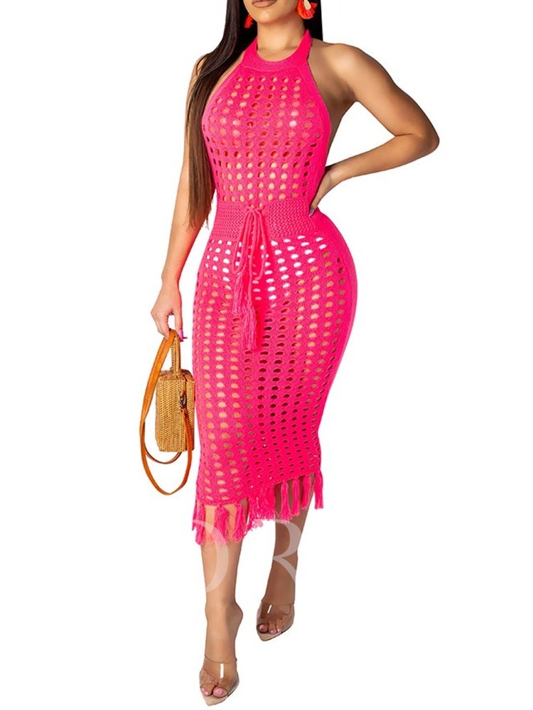 Hollow Sleeveless Lace-Up Women's Bodycon Dress