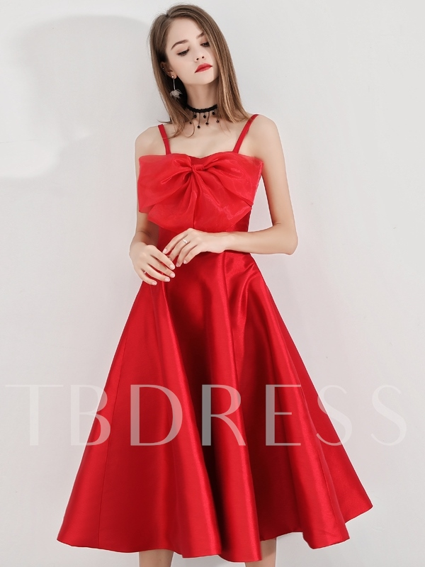 A-Line Tea-Length Bowknot Spaghetti Straps Sleeveless Cocktail Dress