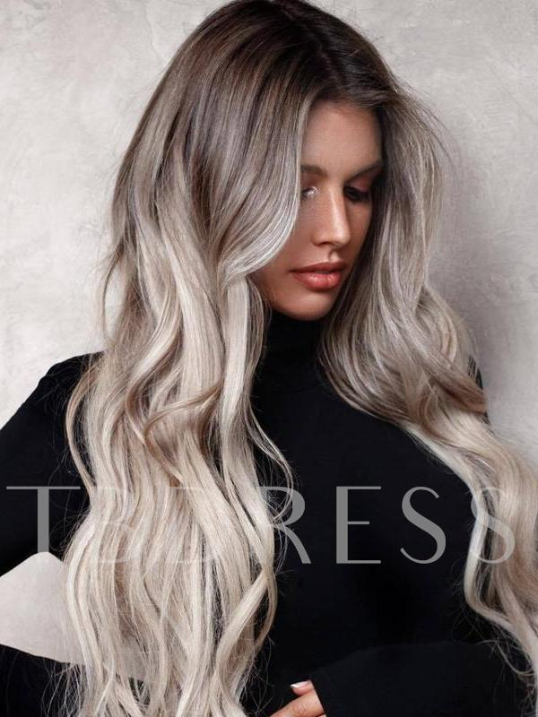 Women's Ombre Color Body Wave Long Synthetic Hair Lace Front Cap Wigs 26 Inches