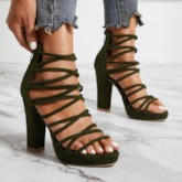 Heel Covering Zipper Open Toe Chunky Heel Cross Strap Platform Sandals