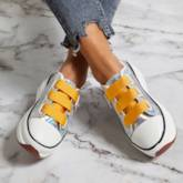 Metallic Round Toe Platform Velcro Women's Sneakers