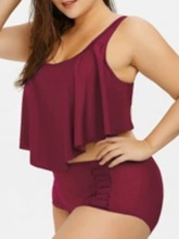 Plus Size Tankini Set Western Plain Women's Swimwear