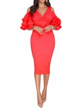 V-Neck Half Sleeve Falbala Fashion Women's Bodycon Dress