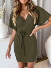 Short Sleeve V-Neck Bodycon Plain Women's Day Dress