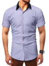 Gray/Black Color Block Button Casual Lapel Single-Breasted Men's Shirt