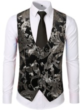 Classic Formal Business Slim Fit Vest Suit Color Block V-Neck Print Fashion Men's Waistcoat